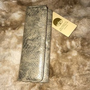 Handbags - Long gold wallet alligator print with gold accent
